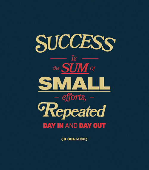 """Success is the sum of small efforts repeated day in and day out."" —R. Collier"