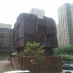Street view of the Martin Luther King, Jr. Memorial Sculpture on Amsterdam Ave., NYC.