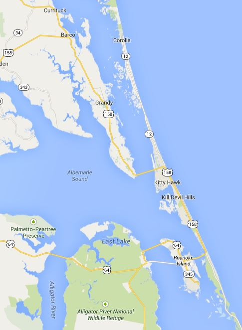 Google map of the North Carolina Peninsula. The strip of land cuts south-east across the right half of the map