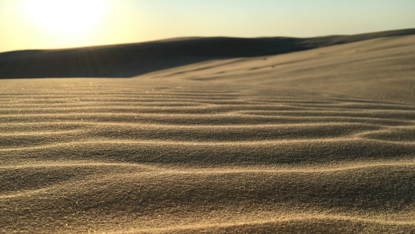 Photo: Nick de la Force via Unsplash.com | Photo of Australian dark tan sand dunes. The sun is below the horizon; the sky is very light blue and bright yellow.