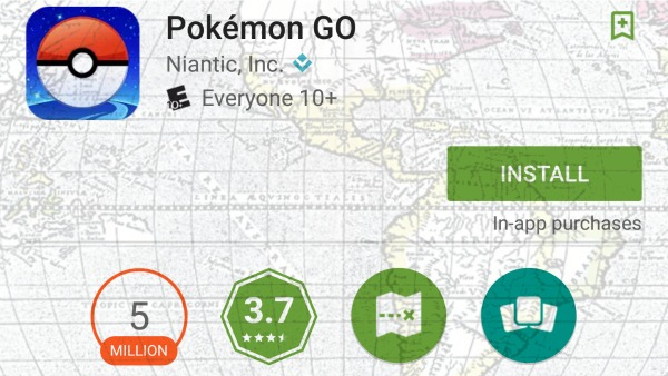 A cropped screenshot of the Android Pokémon GO app listing. Faded over the image is a section of a 1587 map of the so-called New World. The map focuses on what is now called North and South America
