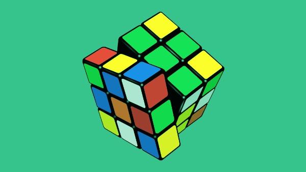 A shuffled Rubik's cube. Original image via Wikimedia Commons.