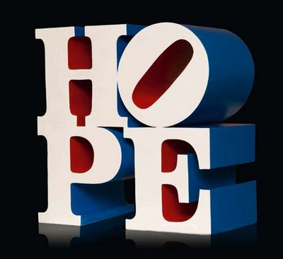 """Hope""—Robert Indiana's three-foot tall painted aluminum sculpture created during the 2008 US presidential campaign. Via Premier Art Scene"