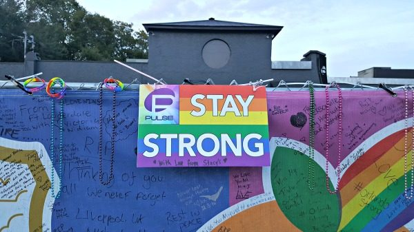 One of the memorial signs outside the Pulse nightclub, Orlando, Florida.