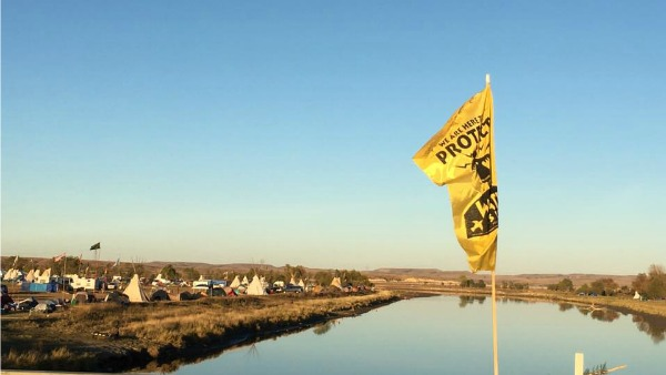A view of Standing Rock under a huge blue sky.