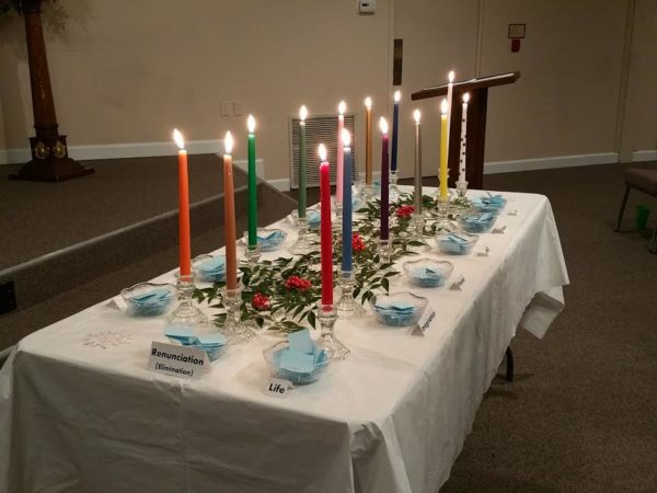 A candlelit ritual at Unity of Gaithersburg.