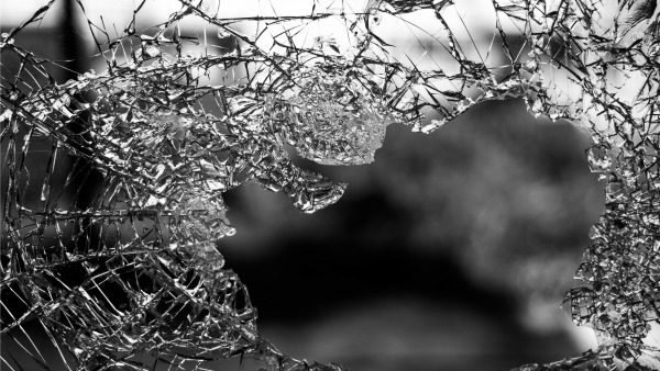 A pane of cracked glass.