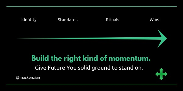 Identity > Standards > Rituals > Wins: Build the right kind of momentum. Give Future You solid ground to stand on. —@mackenzian