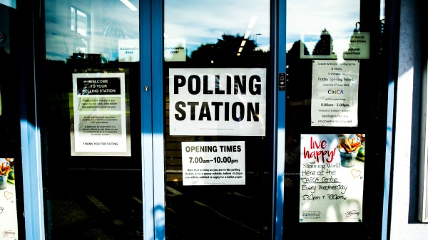 Close up of polling station doors.