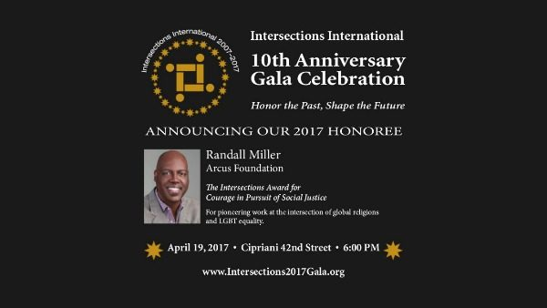 Graphic announcement featuring Dr. Randall Miller, awarded the 2017 Intersections International award for courage in pursuit of social justice.