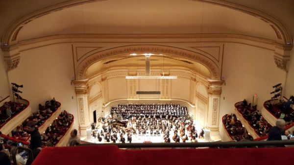 A view of the Carnegie stage from five flights up.