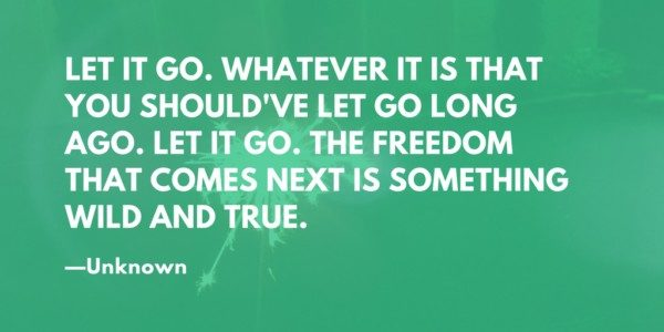 Let it go. Whatever it is that you should've let go long ago. Let it go. The freedom that comes next is something wild and true. --Unknown