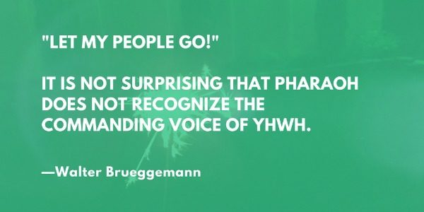 'Let my people go!' It is not surprising that Pharaoh does not recognize the commanding voice of YHWH. —Walter Brueggemann