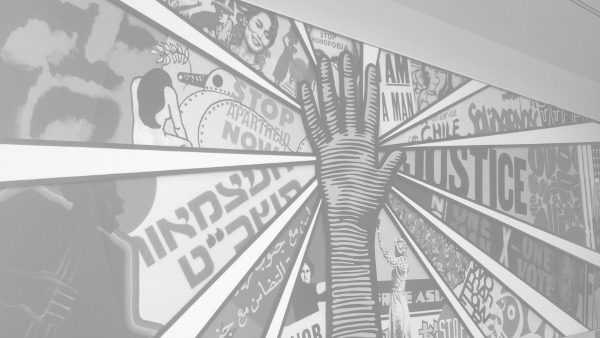 Cropped shot of the mural at the Atlanta Civil Rights Museum.