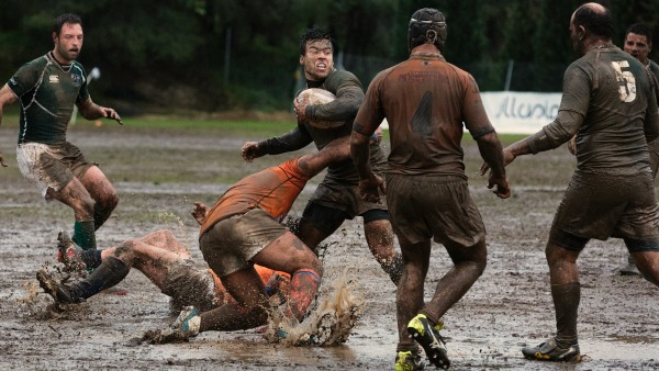 A muddy group of rugby players about to turn over the ball.