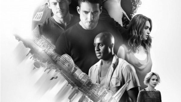 Cropped segment from Netflix's Season 2 Sense8 title art features Will, Lito, Capheus, Nomi, and Riley