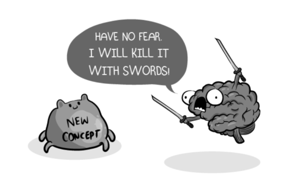 Left: A new concept with legs. Right: A brain with bug eyes and gaping mouth waving a sword in each hand. Speech bubble: